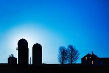 Blue Moonrise Silhouettes Vermont Farm House And Silos