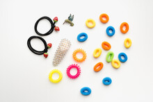 Hair Ties On White Background, Colored Hair Bands