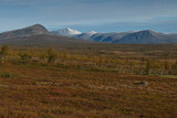 Dusting of autumn snow on distant mountains from Kungsleden trail, Lapland, Sweden