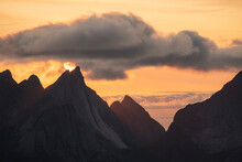 July Summer Sun Setting Over Peaks Of Breiflogtind From Summit Of Reinebringen, Reine, Moskenes√∏y, Lofoten Islands, Norway
