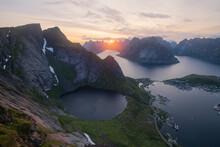 July Midnight Sun In The Sky Over Kirkejord From Reinebringen, Moskenes√∏y, Lofoten Islands, Norway