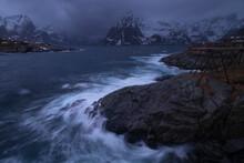 Turbulent Sea Crashes Against Rocky Coastline At Hamn√∏y, Moskenes√∏y, Lofoten Islands, Norway