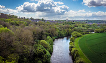 A View From The Conisbrough Viaduct Towards The Town Of Conisbrough, Yorkshire, UK In Springtime
