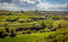 A View From The Conisbrough Viaduct Across The River Don Towards Conisbrough, Yorkshire, UK In Springtime
