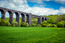 A View Of The Conisbrough Viaduct And The Girder Span Over The River Don At Conisbrough, Yorkshire, UK In Springtime