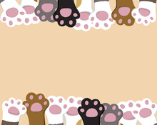 Cartoon Background With Cats Paws