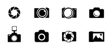 Photo And Camera Icon Set. Icons Of Photography, Image, Photo Gallery And Photo Camera. Diaphragm Icon. Image, Photo Gallery Vector Illustration.