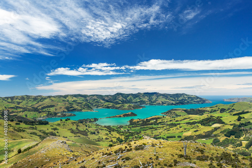Canvas Print Scenic Landscape View of Akaroa Harbour on Banks Peninsula