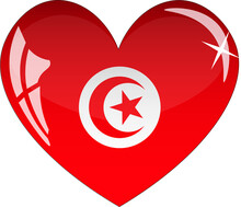 Tunisia Flag In Heart With Glass Or Icon Isolated On White Background. Vector Illustration