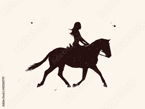 Canvastavla Girl on horse. Female rider abstract silhouette. Night starry sky