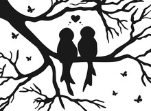 Love Birds Silhouette. Tree Bird Love. Valentine Tree Bird Black And White