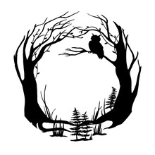 Vector Black And White Illustration. Round Frame Magical, Fairy Forest. Silhouette Of Forest, Trees, Grass And An Owl On A Branch. Background For Postcard, Book, Design For Halloween