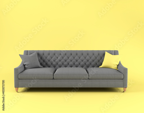 Modern scandinavian classic gray sofa with yellow, gray pillow on wooden legs on yellow background. Pantone color of year 2021. Illuminating and Ultimate gray. Furniture, interior object, Fabric sofa © olgaarkhipenko