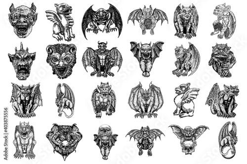 Billede på lærred Set of mythological ancient creatures animals with bat like wings and horns