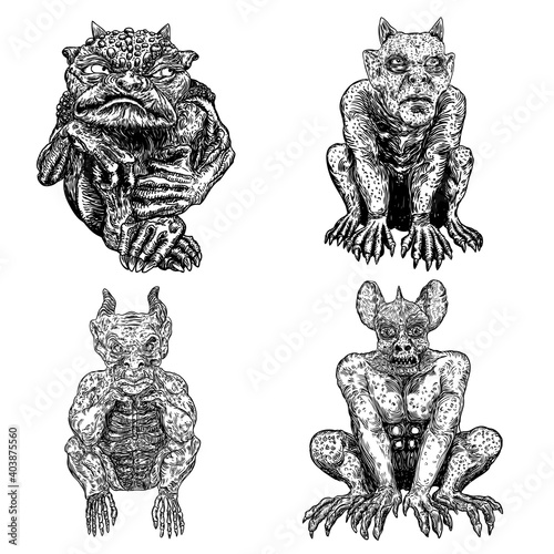 Set of demons, human like monsters creatures chimera with fangs horns, and claws Fototapete