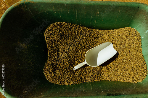 Canvas Print Shot of a green metallic barrow with building material in it and a white plastic
