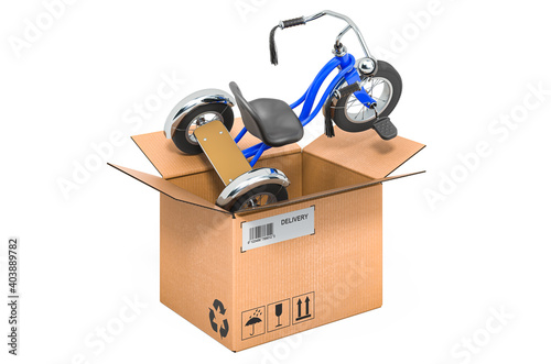 Obraz Tricycle kids bicycle inside cardboard box, delivery concept. 3D rendering - fototapety do salonu