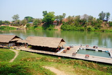 Floating Restaurant By The River In Laos