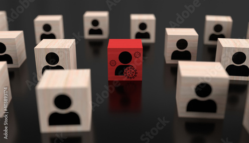 Obraz Superspreader infects people virus concept with wooden cubes - fototapety do salonu