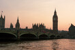 canvas print picture big ben and houses of parliament in London during sunset