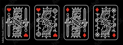 Fototapeta white red King and queen playing card vector illustration set of hearts and diam