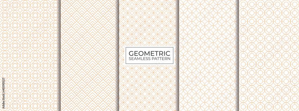 Fototapeta Set of Geometric seamless patterns. Abstract geometric graphic design print. Seamless geometric lines pattern.