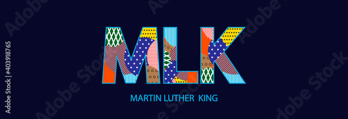 Martin Luther King Day typographic design EPS10, multicolored letters of the MLK.