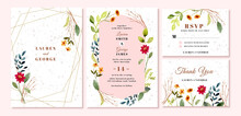 Wedding Invitation Set With Flower Garden Watercolor