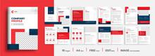Brochure Template Layout Design, Multipage Company Profile Design, Minimal Brochure Design With Red Color Shapes.