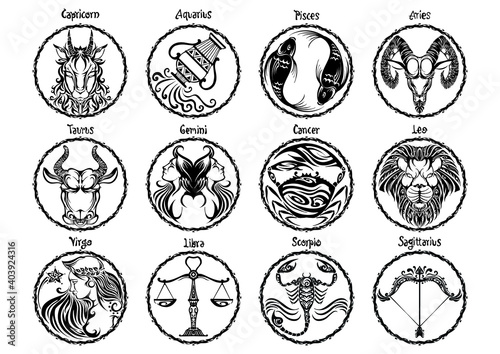Fotografie, Obraz zodiac Astrology horoscope prophecy sign set design and typography with motif bl