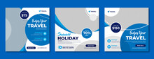 Travel Company Social Media Banner Template In Blue Color. Travelling Business Offer Promotion Post Design With Logo. Online Digital Marketing Flyer For Summer Holiday Tour Advertisement.