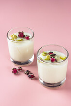 Mahalabia Or Malabi. Arabic Milk Pudding Topping Wit Rose And Pistachio.