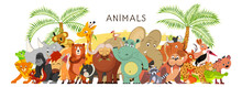 Large Group Of Animals In Cartoon Flat Style Stand Together. World Fauna. Illustration