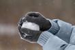 hands holding a snowball