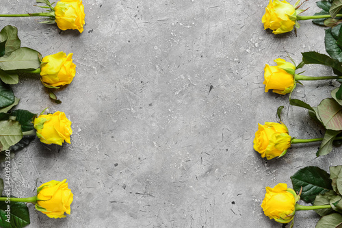 Beautiful yellow roses on grey background Wallpaper Mural