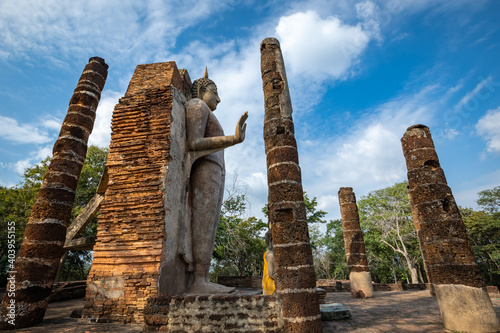 Fototapeta Wat Saphan Hin, Sukhothai province, Thailand, a World Heritage Site located outs