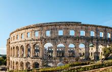 Closeup Of The Wall Of Pula's Arena In Istria, Croatia