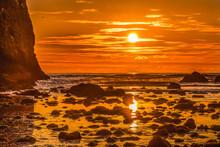Colorful Sunset Low Tide Pool Canon Beach Oregon