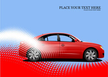 Red Sedan Car On Dotted Background. Vector Colored 3d Illustration