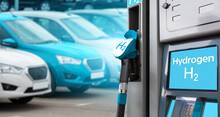 Hydrogen Filling Station On A Background Of Cars. One Car Blue.