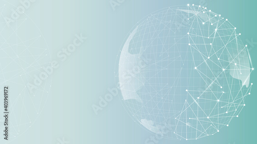 Globe technology business with gradient wallpaper