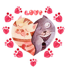 Cute Watercolor Card With Hugging Cats In The Shape Of A Heart With A Frame Of Pink Cat Footprints And The Inscription LOVE.Elements Are Hand-drawn In Watercolor,for Valentine's Day,confessions, Print