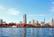 The Yokohama Port area with the Yokohama skyline in the background in Kanagawa, Japan.