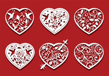 Hearts, Birds On Red Background For Laser Cutting. Set Of White Ornamental Hearts