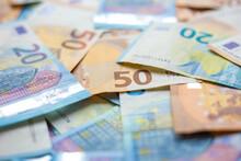Euro Money Various Value 20 50 100 Euro Background Selective Focus
