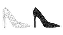High Heel Lady Shoe Polygonal And Mesh Icon