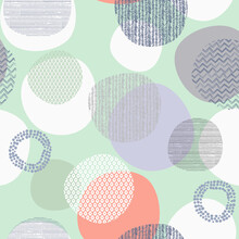 Colorful Circle Pink Geometric Shapes Abstract Pattern With Diamonds Marble Texture On White.