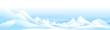 Snow-capped Mountain Peaks Winter Nature Landscape Panorama, Beautiful Winter Day On Snowy Hills, Quiet Windless Weather In The Winter Mountains