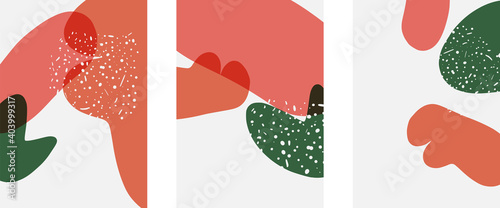 Fototapeta Hand drawn doodle shapes, wall art painting style, vector abstract background templates. A4 poster design or for covers, banners, flyers obraz