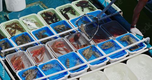Fototapeta Sell seafood on fisherman boat